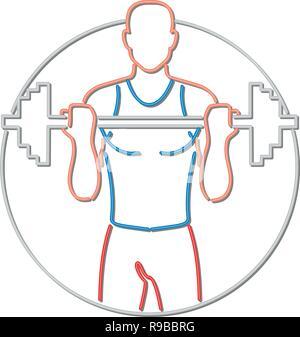 In stile retrò illustrazione mostrante una degli anni novanta insegna al neon luce di illuminazione di segnaletica di un Caucasian fitness fisico atleta di sollevamento di un barbo, visto dal lato anteriore o Immagini Stock