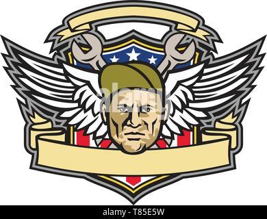 Icona di mascotte illustrazione della testa di un capo equipaggio o meccanico aeronautico con chiave incrociata e Air force army ali con American a stelle e strisce fla Immagini Stock