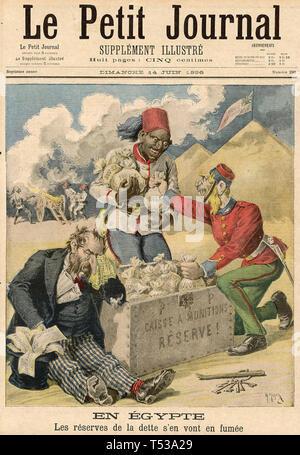 Egitto: anti-semita rivista francese coprire Giugno 1896 beffardo Signore Cromer di investimenti finanziari in Egitto a scapito dei finanzieri ebraico. Immagini Stock