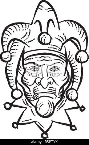 Lo stile di attacco testa illustrazione di un medievale buffone di corte, Arlecchino, ingannare o joker visto dal lato anteriore fatto su scraperboard scratchboard stile su isol Immagini Stock