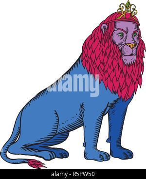 Lo stile di attacco illustrazione di un maschio blu lion con red mane indossa una tiara o corona seduti fatto su scraperboard scratchboard stile su isolato Immagini Stock