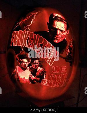 NEW YORK, Stati Uniti d'America: Frankenstein di Boris Karloff's Frankenstein (1931 film). Questi SPOOKTACULAR sculture di zucca con intricati disegni e modelli che hanno avuto fino a sedici ore di perfetto sono sicuro di trovare in voi lo spirito della festa di Halloween. Foto sorprendenti mostrano come l'artista ha scolpito un spaventosamente accurata Giger ispirato Alien nella frutta di stagione, mentre alcune zucche raffigurano Ghost Busters e streghe da Hocus Pocus. Altre varietà di zucche sono state blasonate con la carcassa dal 2017 hit film, Thor: Ragnarok, Disney's Moana e Star Wars' Darth Vader di fronte alla morte stella. Il Governatore da z Immagini Stock