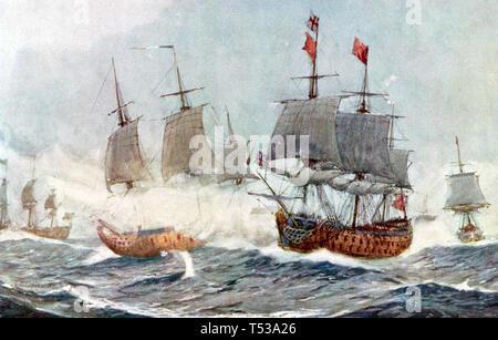 Battaglia di QUIBERON BAY 20 Novembre 1759 Immagini Stock