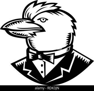 Retrò stile xilografia illustrazione della testa della Kookaburra, un albero terrestre kingfisher del genere Dacelo, nativo in Australia e in Nuova Guinea, indossando tux Immagini Stock