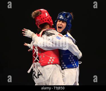 Manchester, Regno Unito. Il 19 maggio 2019. Taekwondo Campionati del mondo; Irem Yaman (TUR) in azione durante i suoi semi-final bout contro Magda Wiet Henin (FRA) Credit: Azione Plus immagini di sport/Alamy Live News Immagini Stock