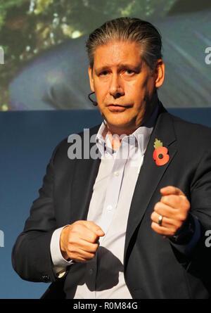 Excel, London, Regno Unito. 5 novembre 2018. Johan Lundgren CEO di easyJet parlando al World Travel Market in Excel, Londra oggi (Mon) Credito: Finnbarr Webster/Alamy Live News Immagini Stock