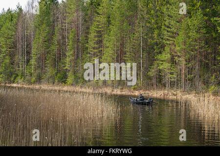 Uomo con una barca a remi Repovesi National Park, Finlandia. Immagini Stock
