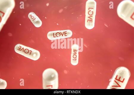 Pillole con 'amore' segno si blocca su sfondo rosso. La concezione delle nuove scoperte nel campo della medicina. Immagini Stock
