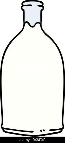 Disegnato a mano cartoon stravagante bottiglia di latte Immagini Stock