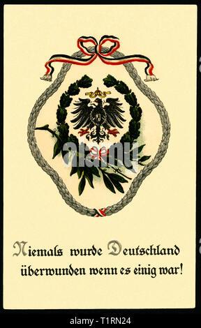 """Germania, Berlino, WW I, propaganda, patriottica cartolina con il testo: """" Repubblica federale di Germania non è mai stata superata se è stato concordato ! ' Con la corona di alloro, Inviato 10. 08. 1916. , Additional-Rights-Clearance-Info-Not-Available Immagini Stock"""