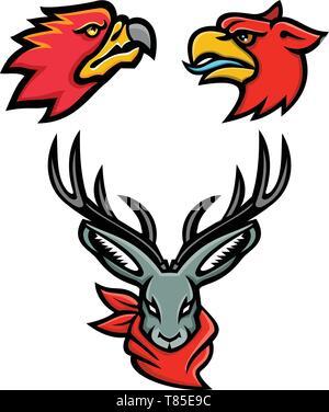 Icona di mascotte illustrazione gruppo delle teste dei mitici o folklore creature e animali come il firebird, Griffin e jackalope vista dal davanti e sid Immagini Stock