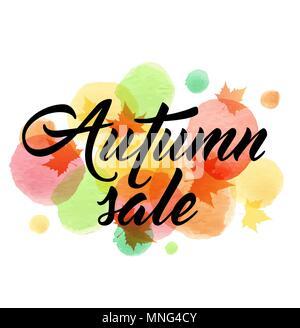Vettore astratto banner stagionale per vendita autunnale con foglie di acero e acquerello blot. Immagini Stock