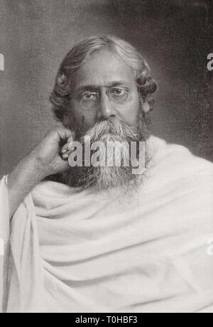 Vecchia foto vintage di Rabindranath Tagore Immagini Stock