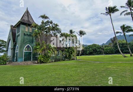 Hanalei Kauai Hawaii la vecchia chiesa verde chiamato Waiola Huiia Chiesa 1912 attrazione turistica di punto di Immagini Stock