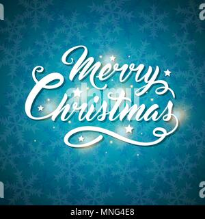 Vettore scheda di Natale con i fiocchi di neve e il messaggio di saluto iscrizione su uno sfondo blu. Buon Natale scritte Immagini Stock