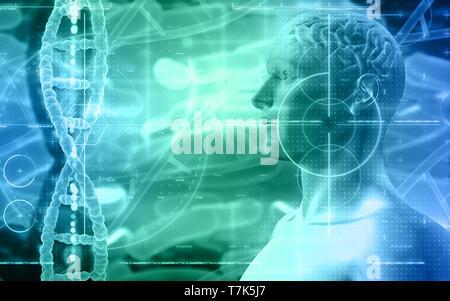 3D sfondo medico con una figura maschile con il cervello e filamenti di DNA Immagini Stock