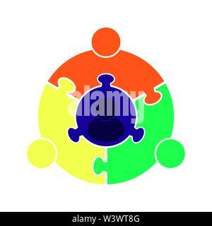 Lavoro di squadra logo.Cerchio in forma di un puzzle di quattro parti. Design piatto Immagini Stock