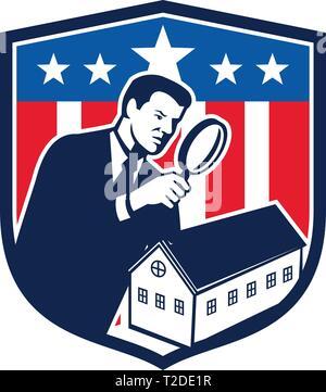 Icona di stile retrò illustrazione di una scuola americana inspector con lente di ingrandimento e Stati Uniti d'America USA star lamas banner o stelle e Immagini Stock