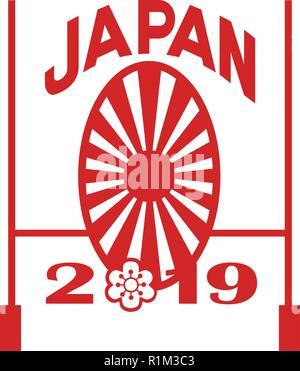 Icona di stile retrò illustrazione di un obiettivo di rugby post e giapponese Sakura e Rising Sun con parole Giappone 2019 su sfondo isolato. Immagini Stock