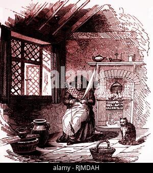 Illustrazione che mostra cottager spinning con conocchia. La finestra ha le luci con piombo e è un serramento. Le tende sono appesi mediante anelli da un polo. 1848 Immagini Stock
