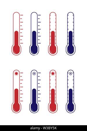 Set di icone vettoriali. Termometro con temperature calde e fredde, design piatto. Immagini Stock