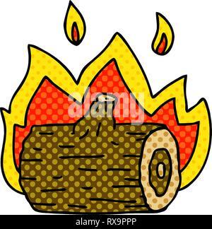 In stile fumetto cartoon stravagante campfire Immagini Stock