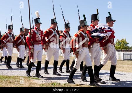 Canada,Ontario,Niagara sul lago, Fort George National Historic Park, la guerra di 1812 re-enactors, le truppe britanniche Immagini Stock