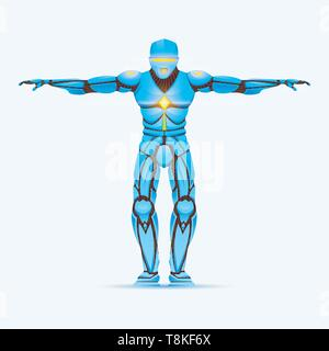 Elegante uomo cyborg. Robot umanoide con intelligenza artificiale, IA. carattere mostra gesti. Android maschio, futuristico illustrazione vettoriale in cartoon Immagini Stock