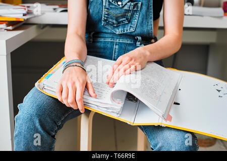 Femmina giovane studente di college con il legante studiare Immagini Stock