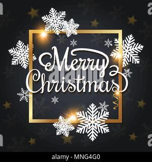 Vettore di auguri di Natale carta. Fiocchi di neve bianca e cornice dorata su uno sfondo nero. Buon Natale scritte Immagini Stock