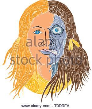 Schizzo di disegno illustrazione dello stile di faccia di Hel, una dea in mitologia di norvegesi, con la faccia metà scheletro e metà carne con cupo, abbattuto appearan Immagini Stock