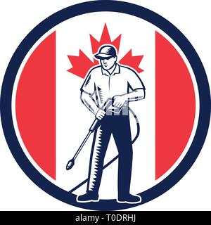 Illustrazione di un lavoratore canadese con la rondella di pressione di lavaggio chimico utilizzando acqua ad alta pressione spray con il Canada maple leaf flag impostato all'interno del cerchio Immagini Stock