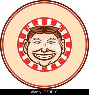 Icona di mascotte illustrazione della testa di un grinning, leering, sorridente divertente volto sornione la trasmissione via IR la tazza con capelli parted in medio se visto dalla parte anteriore con sunbur Immagini Stock
