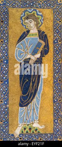 Placche con la Vergine. Queste placche di smalto erano originariamente fissato ai bracci di una grande croce. La Immagini Stock