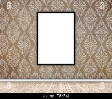 3D rendering di un interno con vuoto quadro appeso sulla carta da parati damascata Immagini Stock