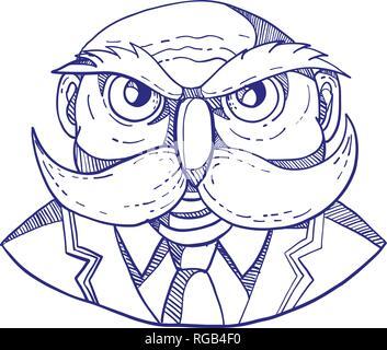 Doodle arte illustrazione di un arrabbiato vecchio uomo calvo che appare come un gufo con baffuto cappotto e cravatta visto dal lato anteriore fatto in caricatura stile. Immagini Stock