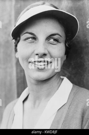 Helen Wills Moody nel 1931. Ha tenuto la posizione superiore nel tennis femminile per un totale di nove anni: 1927 Immagini Stock