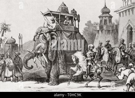 Nana Sahib lasciando Lucknow per Cawnpore nel 1857 Immagini Stock