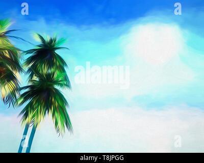 Abstract stilizzata sfondo dipinto di palme contro un cielo blu Immagini Stock