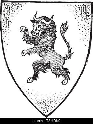 Per animale araldico in stile vintage. Inciso lo stemma con toro. Emblemi medievale e il logo del regno fantasy. Immagini Stock