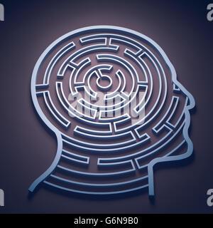 Un labirinto all'interno di una testa - cognizione e concetto di psicologia Immagini Stock
