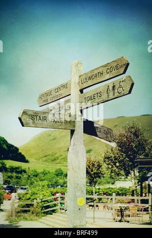Cartello per Lulworth Cove,Dorset, Regno Unito Immagini Stock