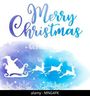 Vacanze vettoriale sfondo con Babbo Natale e saluto l'iscrizione. Scheda di Natale con blu texture acquerello. Immagini Stock