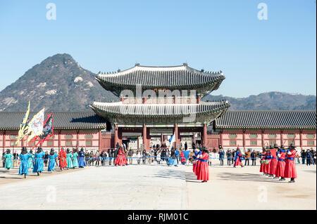 Seoul, Corea del Sud, Gyeongbokgung Palace Immagini Stock