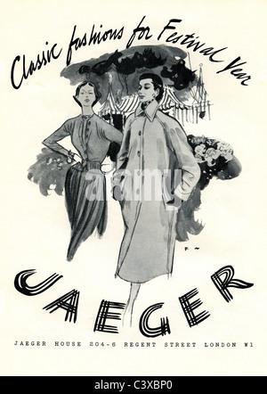 Pubblicità per Jaeger, dal Festival di Gran Bretagna programma di souvenir di apertura presso la Royal Festival Immagini Stock