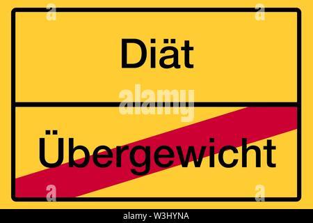 Posizionare il nome segno, fine della città, immagine simbolica, la dieta o il sovrappeso, salute, Germania Immagini Stock
