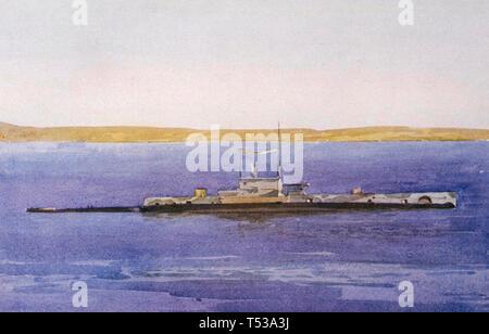 HMS E11 Royal Navy submarine off i Dardanelli in 1915 Immagini Stock