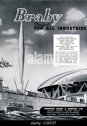Pubblicità per i fornitori di acciaio Frederick Braby & Company Ltd, dal Festival della Gran Bretagna guida, Immagini Stock