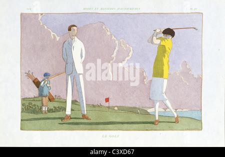 Le Golf, pubblicato da Pierre Corrard. Parigi, Francia, 1914-22 Immagini Stock