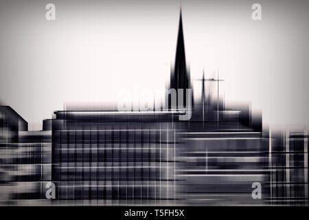 Il porto di Amburgo abstract con la chiesa di San Michele e una nave. Immagini Stock